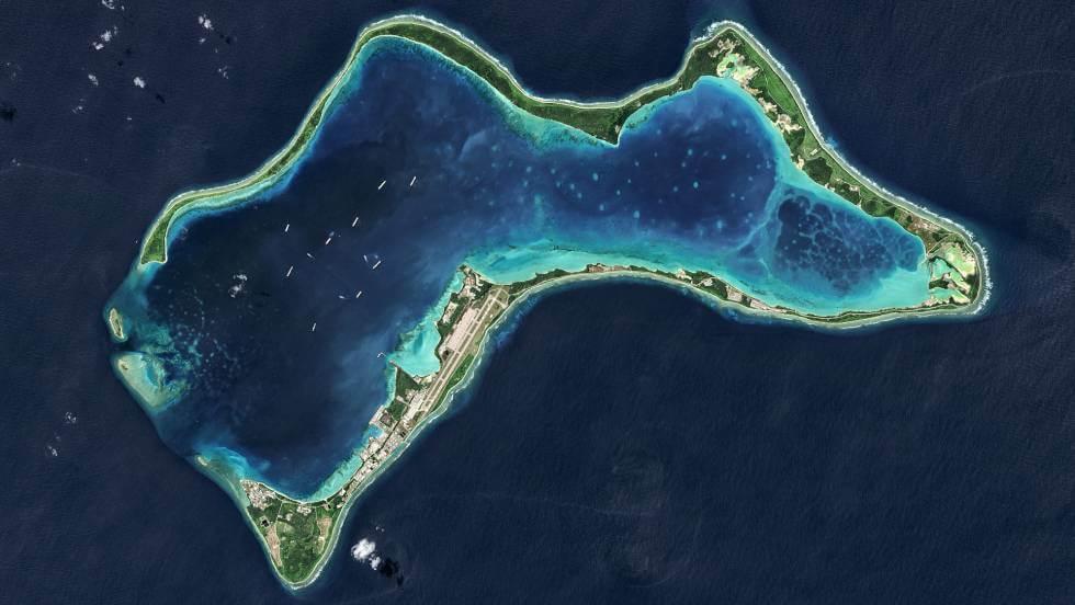 La isla de Diego García, en una imagen de satélite. Getty Images