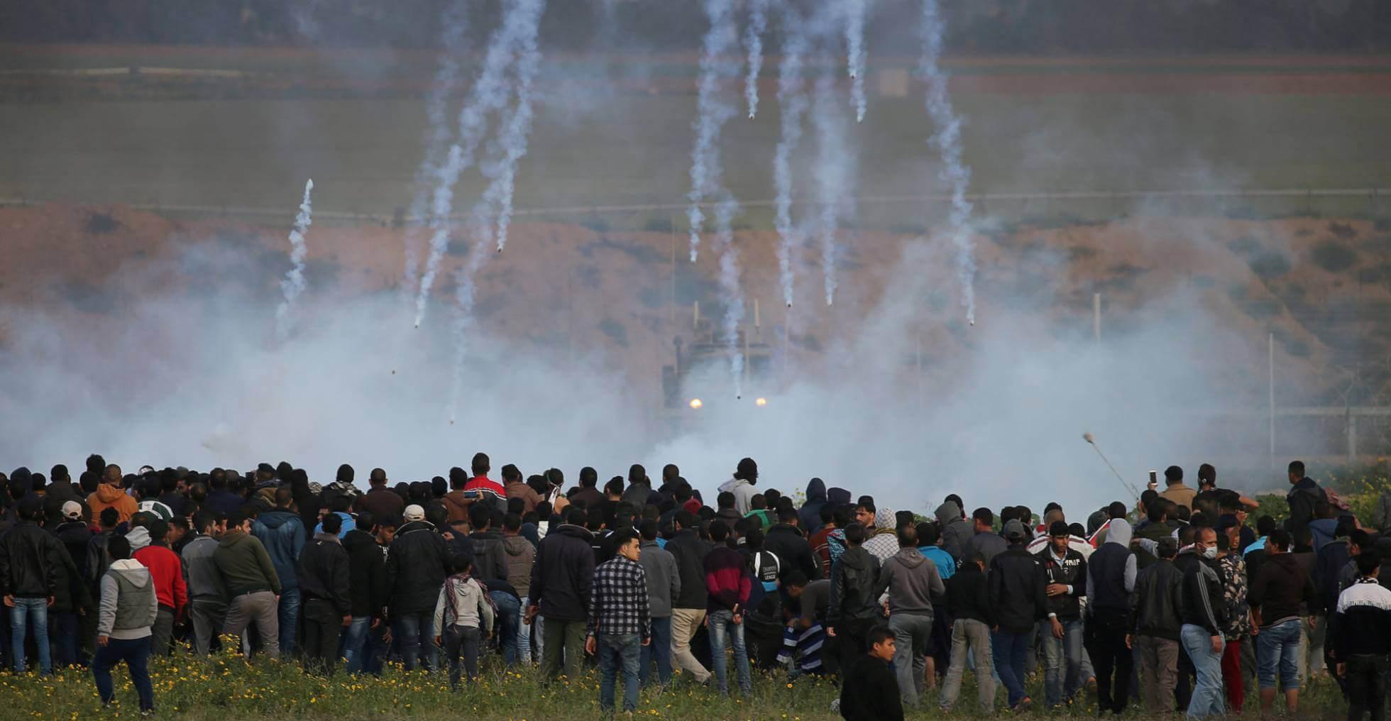 Protesta palestina en la frontera de Gaza con Israel, el viernes 22 de febrero. Ibraheem Abu Mustafa REUTERS