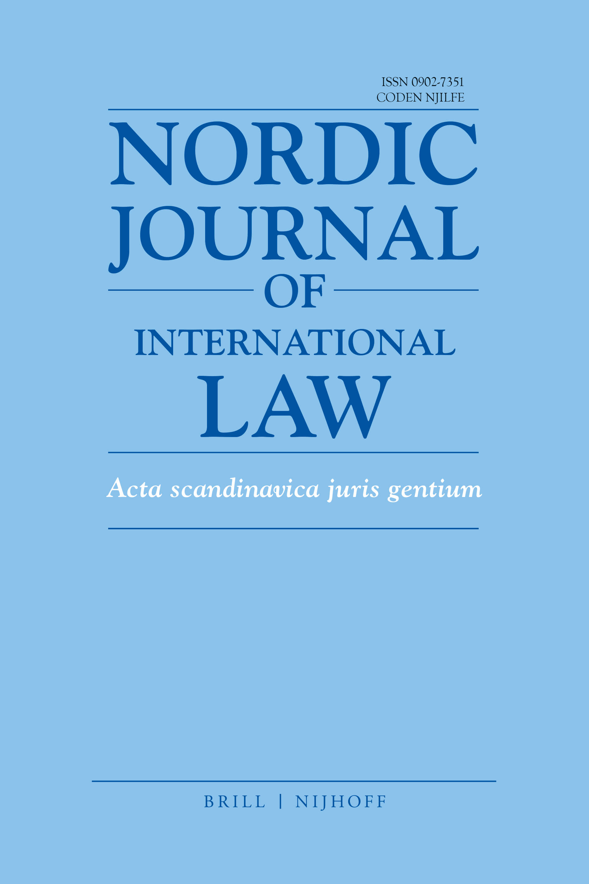 Nordic Journal of International Law - Volume 88 (2019): Issue 2 (Apr 2019)