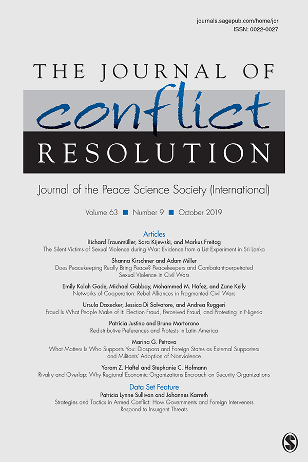 Journal of Conflict Resolution - Volume 63 Issue 9, October 2019