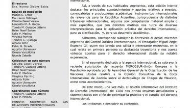 CARI - Boletín informativo del Instituto de Derecho Internacional - Nº 26. Agosto 2019